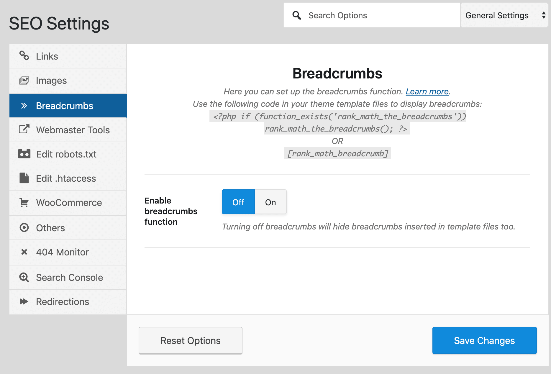 breadcrumbs disabled