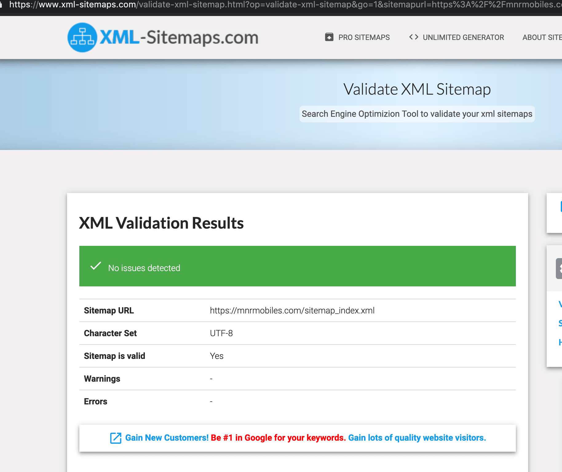 validate sitemap
