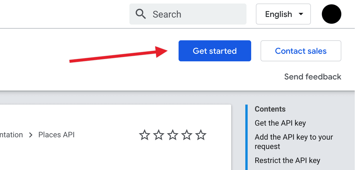 Get started button in the Google API