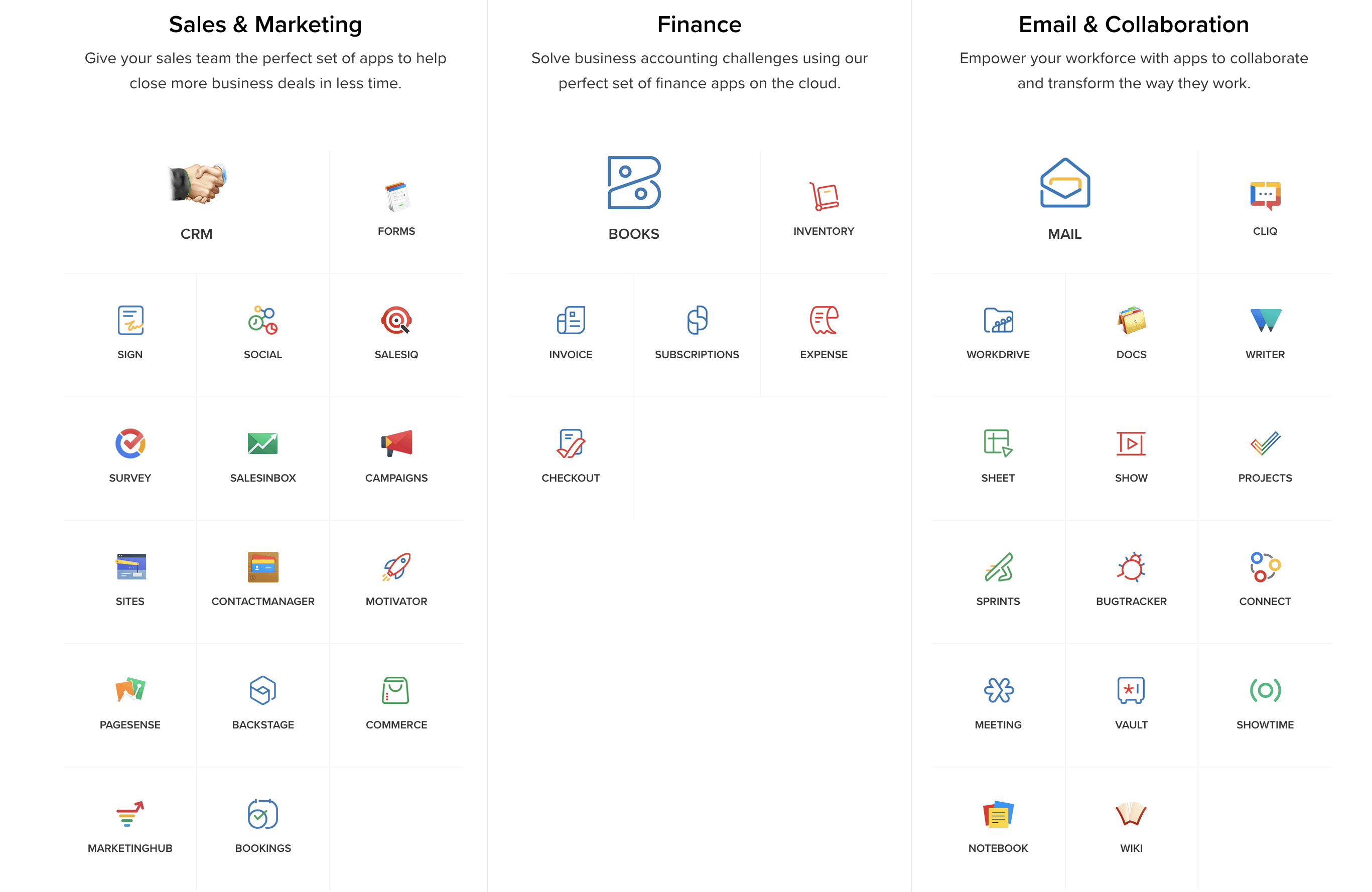 Apps in Sales & Marketing, Finance, and Email & Collaboration.